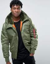 Alpha Industries Ma-1 Bomber Jacket With Hood In Regular Fit Sage Green