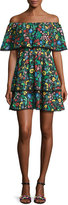 Alice + Olivia Tylie Floral-Print Off-the-Shoulder Ruffle Mini Dress, Multicolor