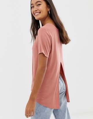 Asos Design DESIGN t-shirt with drapey split back in pink