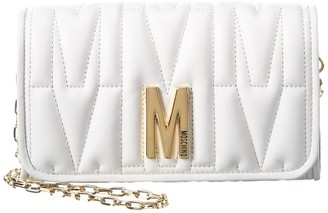 Moschino M Quilted Leather Shoulder Bag
