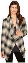 BB Dakota Mower Light Plaid Drape-Front Wrap Jacket Women's Coat