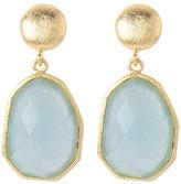 Rivka Friedman 18K Gold Clad Deco Shape Faceted Caribbean Blue Quartzite Dangle Earrings