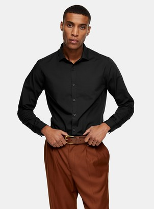 Topman Black Slim Fit Long Sleeve Shirt