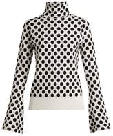 House of Holland Roll-neck spot-jacquard knit sweater
