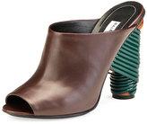 Balenciaga Leather Wrap-Heel Mule Pump, Marron Cachou