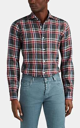 Barba MEN'S PLAID LINEN SHIRT