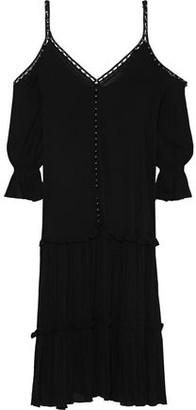 Jonathan Simkhai Cold-shoulder Embellished Gathered Gauze Midi Dress