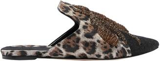 Sanayi 313 Felt-paneled Metallic-trimmed Embroidered Leopard-print Jacquard Slippers