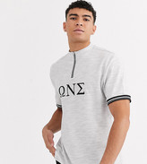 Asos Design DESIGN Tall organic cotton relaxed zip neck turtle with sorority embroidery in waffle jersey