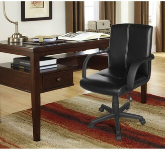 Idea Nuova Tufted Black Leather Mid-back Office Chair