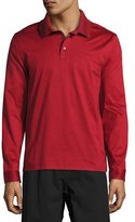 Salvatore Ferragamo Long-Sleeve Polo Shirt with Gancini Chest Embroidery, Red