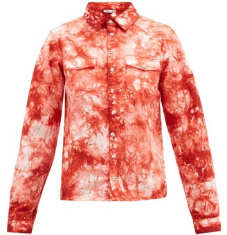 Arizona Love Alba Tie-dye Western Denim Shirt - Red Print