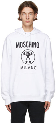 Moschino White Double Question Mark Hoodie