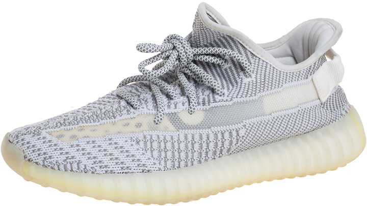 Yeezy x adidas White/Grey Knit Fabric Boost 350 V2 Static Non Reflective Sneakers Size 42 2/3