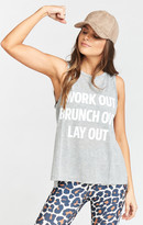 MUMU The Secret Life Tank ~ Work Out Brunch Out Lay Out Graphic