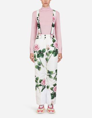 Dolce & Gabbana Tropical Rose Print Nylon Ski Dungarees