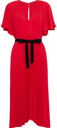 Mikael Aghal Asymmetric Belted Pleated Crepe De Chine Dress