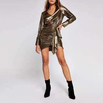 River Island Womens Gold metallic long sleeve ruffle mini dress