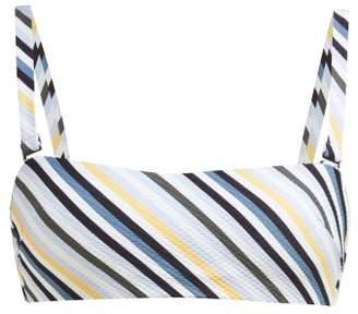 ASCENO Striped Technical-seersucker Bikini Top - Womens - Blue Stripe
