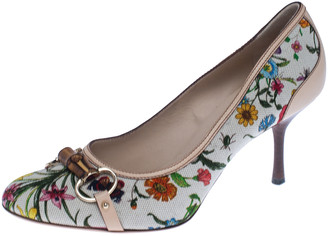 Gucci Multicolor Floral Printed Canvas Bamboo Horsebit Pumps Size 40