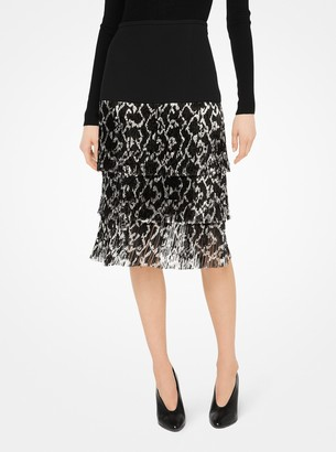 Michael Kors Fringed Python Double Crepe-Sable Skirt