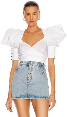 Raisa Vanessa RAISA&VANESSA Puffy Sleeve Crop Top in White   FWRD