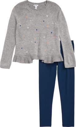 Splendid Embroidered Sweater & Leggings Set