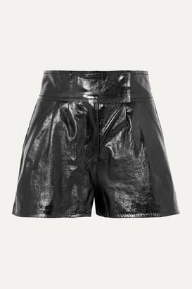 Stand Studio - Pernille Teisbaek Destiny Pleated Textured-leather Shorts - Black