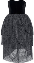 Isa Arfen Tiered Velvet And Flocked Tulle Dress
