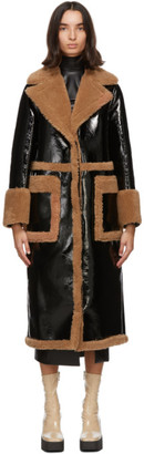 Stand Studio Black Faux-Leather Aubrey Coat