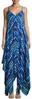 Karina Grimaldi Irene Sleeveless Geometric-Print Dress, Blue Circus