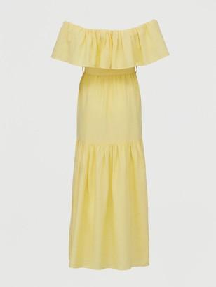 Very Frill Bardot Maxi DRess - Yellow