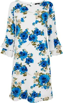 Wallis Ivory Floral Print Flute Sleeve Dress