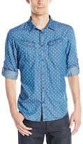 Calvin Klein Jeans Men's Roll Tab Invaders Print Button Down Shirt