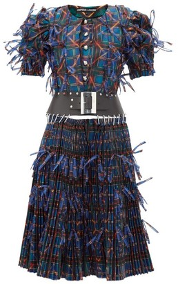 Chopova Lowena Bow-trim Pleated Upcycled Tartan-organza Dress - Black Multi