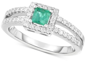 Macy's Emerald (1/3 ct. t.w.) & Diamond (1/3 ct. t.w.) Ring in 14k White Gold