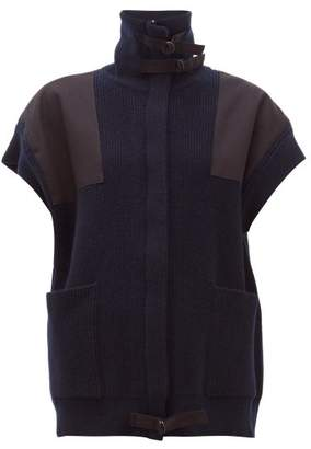 Stella McCartney High-neck Ribbed-wool Gilet - Womens - Navy