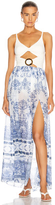 PatBO Amalfi Cut Out Beach Dress in Blue & White | FWRD