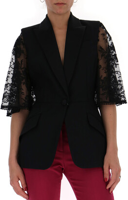 Alexander McQueen Lace Sleeve Tailored Jacket
