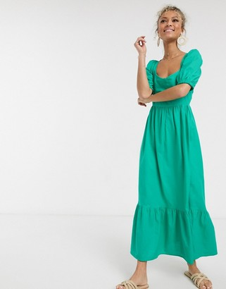 Asos DESIGN tiered maxi dress with puff sleeves and open back in green