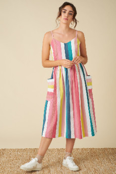 Emily And Fin Bree Rainbow Stripe Dress - 10