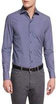 Ermenegildo Zegna Geo-Print Long-Sleeve Sport Shirt, Navy