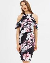 Lipsy Ella Print Cold Shoulder Satin Shift Dress
