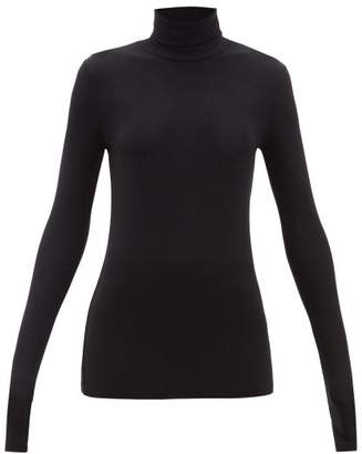 Atm - Roll Neck Long Sleeved Ribbed Jersey T Shirt - Womens - Black