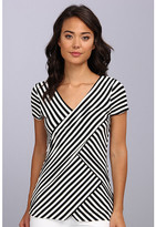 Vince Camuto S/S Small Tropic Stripe Bandage Top