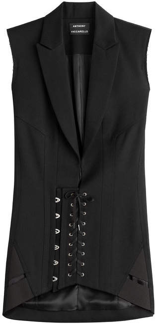 Anthony Vaccarello Wool Corset Blazer Dress