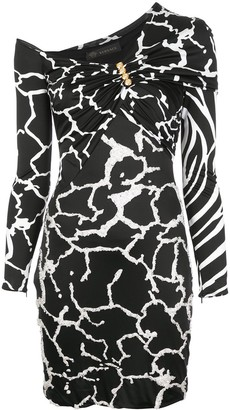 Versace Abstract Print One Shouldered Dress
