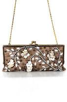 Moyna Brown White Canvas Beaded Clasp Closure 2 Pocket Clutch Handbag