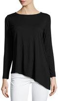 Lilla P Long-Sleeve Pima Cotton-Blend Top, Black