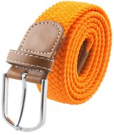 "SUNYIK Mens Casual Braided Webbing Elastic Fabric Pu Leather Buckle Belt (-44""L)"